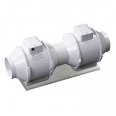 Канальный вентилятор смешанного типа в пластиковом корпусе Вентс ТТ 100 РВ сіро-блакитний