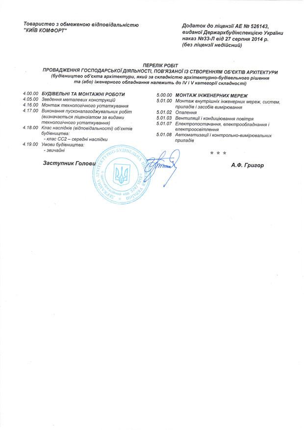 Приложение к лицензии Киев Комфорт